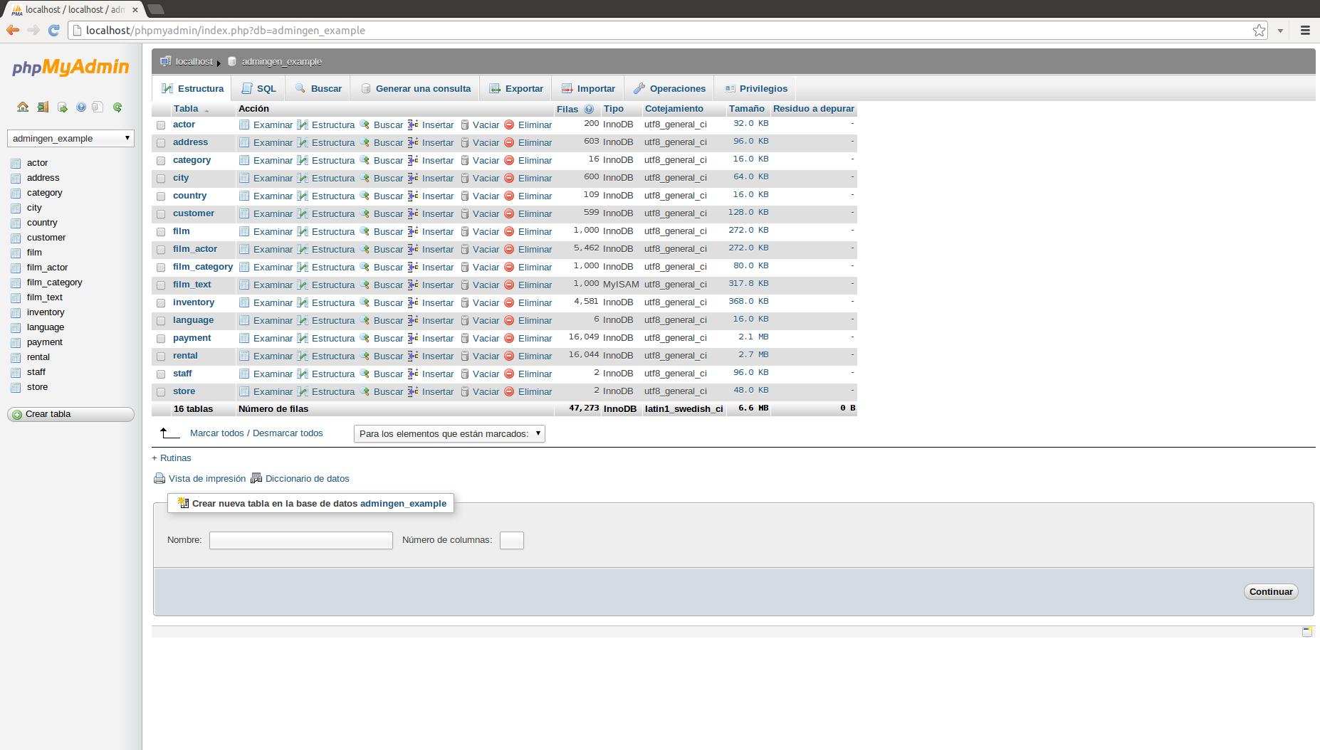 CRUD Admin Generator - Generate a backend from a MySql database